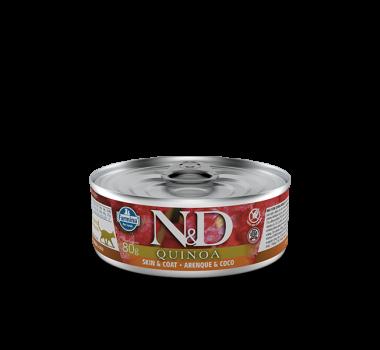 Alimento Úmido N&D Farmina Quinoa Skin e Coat Arenque e Coco para Gatos Adultos - 80g