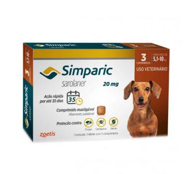 Antipulgas e Carrapatos Simparic 20mg Zoetis para Cães de 5,1Kg a 10Kg - 3 Comprimidos