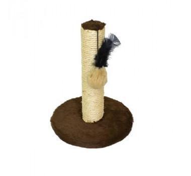 Brinquedo Arranhador Redondo Pelúcia G Marrom São Pet para Gatos