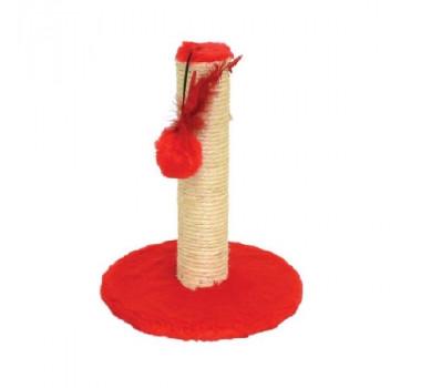 Brinquedo Arranhador Redondo Pelúcia G Vermelho São Pet para Gatos