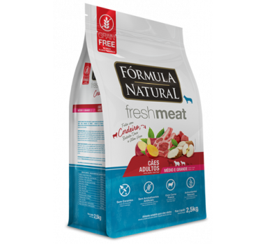 Ração Seca Fórmula Natural Fresh Meat Cordeiro, Batata Doce e Aloe Vera para Cães Adultos de Médio e Grande Porte - 2,5Kg