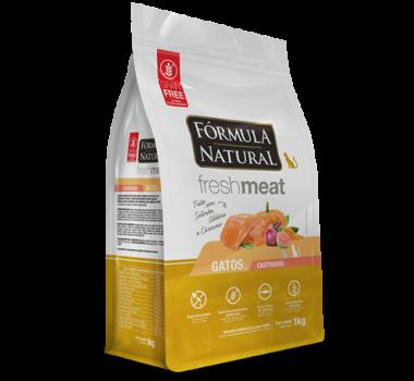 Ração Seca Fórmula Natural Fresh Meat Salmão, Abóbora e Cúrcuma para Gatos Castrados