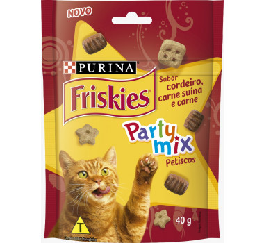 Petisco Friskies Party Mix Cordeiro e Carne Purina para Gatos - 40g