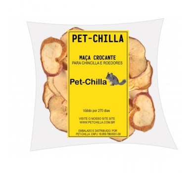 Maçã Crocante Pet-Chilla para Chinchila e Roedores - 100g
