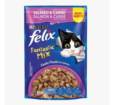 Sachê Felix Fantastic Mix Sabor Salmão e Carne 85g
